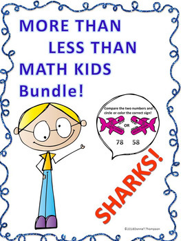 """More Than Less Than Shark Bundle """" K, 1st, 2nd, and 3rd Grade"""" (Worksheets)"""