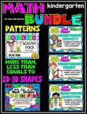 Kindergarten MEGA MATH BUNDLE; More than-less than, 2D- 3D shapes, Patterns