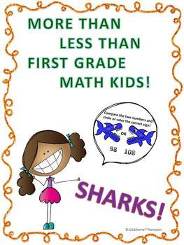 "More Than Less Than Sharks ""First Grade Math Kids"" (Worksheets)"