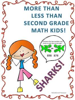 "More Than Less Than Sharks ""Second Grade Math Kids"" (Worksheets)"