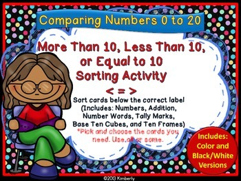 More Than, Less Than, or Equal to 10 Sorting Activity (Focus Numbers 0-20)