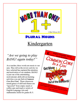 """More Than One!"" Plural Nouns Kindergarten Common Core Game"