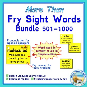 More Than SIGHT WORDS for Fluency AND Comprehension 501-10