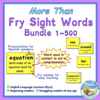 More Than SIGHT WORDS for Fluency AND Comprehension 1-500 Bundle