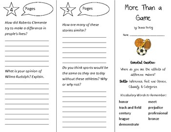 More Than a Game Trifold - Open Court 4th Grade Unit 1 Lesson 6