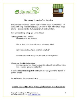 More Than a Lemonade Stand-What is an entrepreneur/Biz Idea Student Worksheets