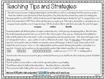 4th Grade Guided Math Toolkit: Generate and Analyze Patterns