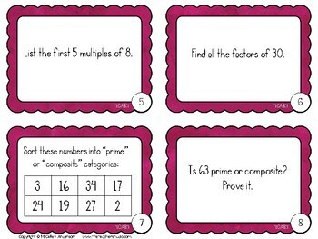 More Than a Math Center Prime and Composite Numbers Factors and Multiples