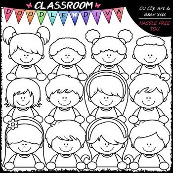 More Topper Kids Clip Art - Topper Girls & Boys Clip Art & B&W Set