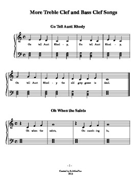 More Treble Clef and Bass Clef Songs