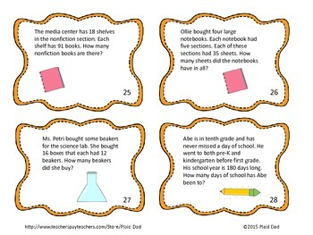 More Two Digit Multiplication Word Problem Task Cards