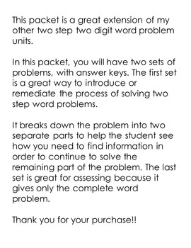 More Two Step Word Problems - Three Digits