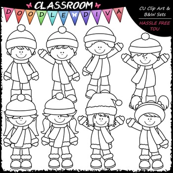 More Winter Kids - Clip Art & B&W Set