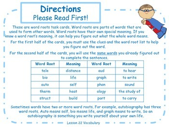 More Word Roots Task Cards for Journeys 3rd Grade
