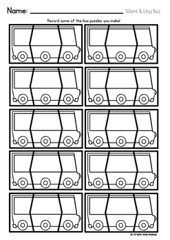 More and Less Bus Puzzles {100 More 100 Less}