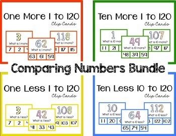 More and Less Comparing Numbers Clip Card Bundles