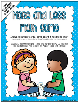 More and Less Math Game with Number Cards