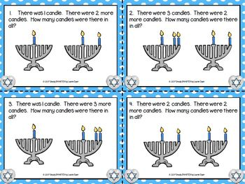 More and More Candles:  LOW PREP Hanukkah Themed Addition Task Cards