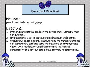 More and More Snowballs:  LOW PREP Snowman Themed Addition Task Cards