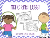 More or Fewer Math Activities {no prep}