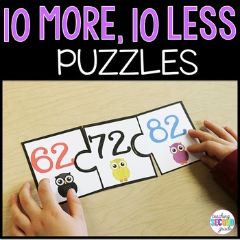 More or Less ~ 10 more and 10 less 20 Puzzles Math Centers Activities Stations