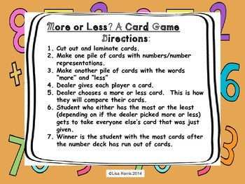 More or Less?  A Card Game