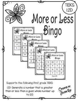 More or Less Bingo: One More, One Less, Ten More, Ten Less: TEKS 1.2D