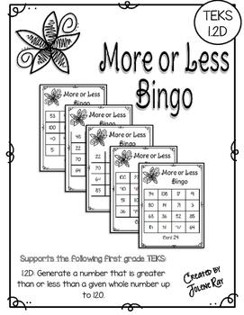 More or Less Bingo: One More, One Less, Ten More, Ten Less