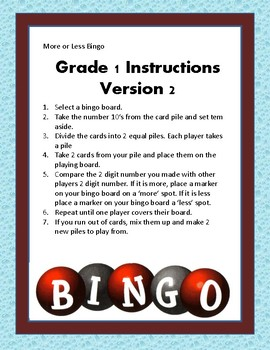 More or Less Blackout Bingo with Numeral Cards