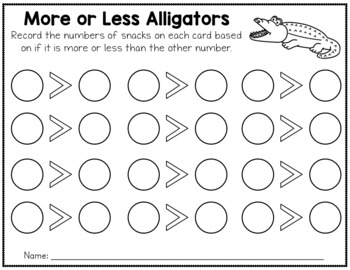 More or Less Game - Alligator Snacks