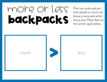 More or Less Game - Backpacks