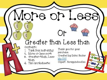 More or Less/Greater Than Less Than