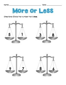 More or Less Numbers 1-10