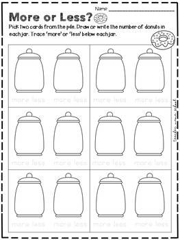 More or Less Sorting Activity - with Recording Sheet