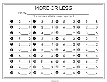 More & Less Comparison Task Cards
