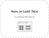 More or Less Task Cards: Dice
