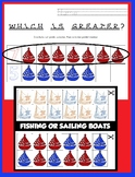 Sailboats Fishing Boats More or Less Than - Comparing Numbers Numeral Quantities