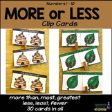 More or Less Than Number Clip Cards{Common Core}