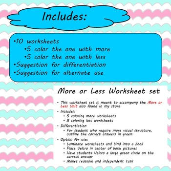 More or Less Worksheet set for Special Education
