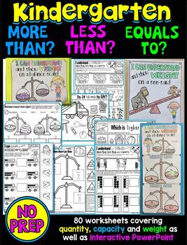 More than-Less than- NO PREP WORKSHEETS FOR KINDERGARTEN