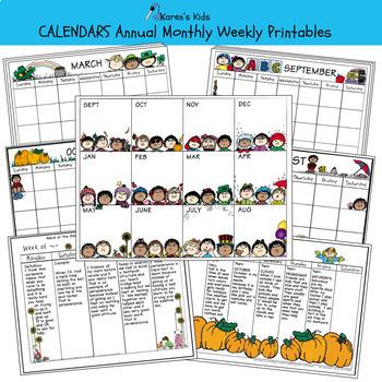 CALENDAR Bundle Editable Templates (Karen's Kids Printables)