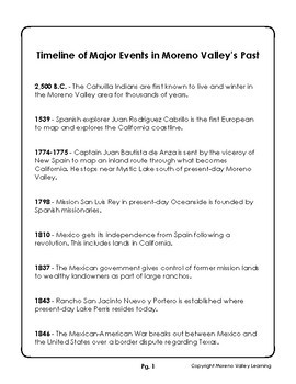 Moreno Valley History Reading Comprehension Packet