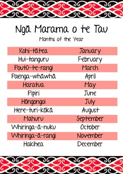 Maori Months of the Year