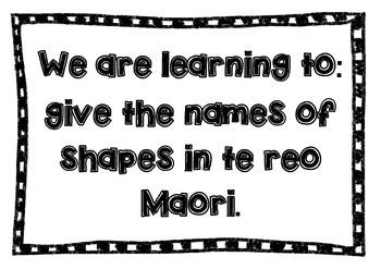 Māori language wall display - shape names