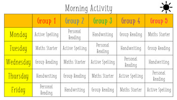 Morning Activity Timetable