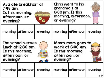 Morning/Afternoon/Evening Time Task Cards