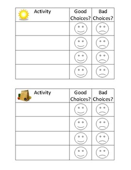 Morning/ Afternoon Simple Behavior Chart