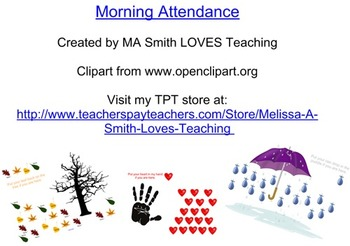 Morning Attendance Smartboard - One for each Month