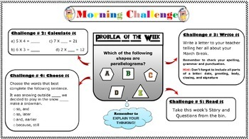 Morning Bellwork/Centres/EQAO help