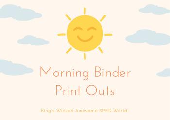 Morning Binder - Including Zones of Regulation